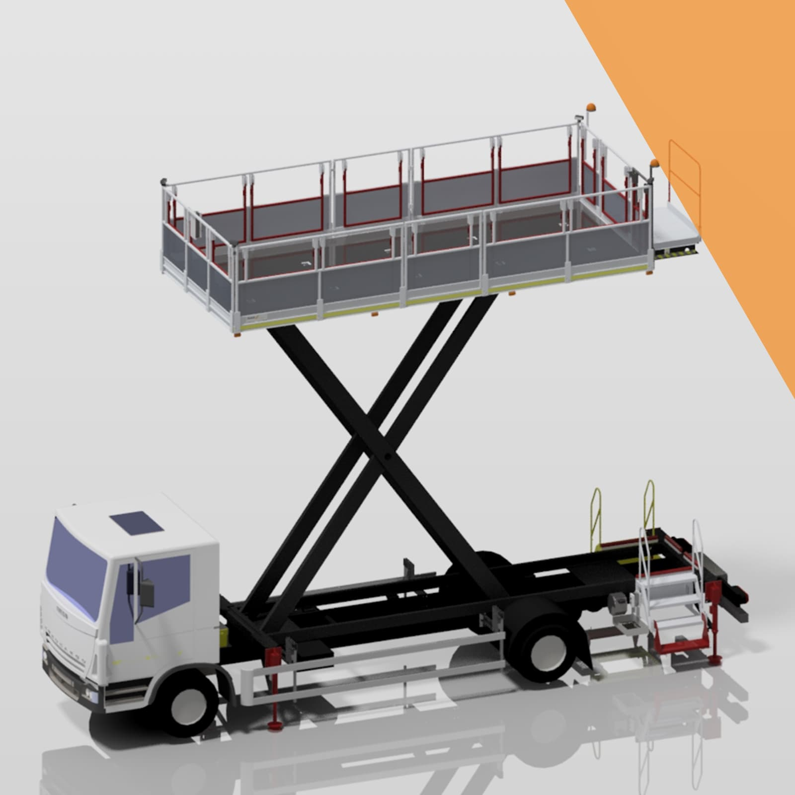 Large vehicle mounted scissor lifts